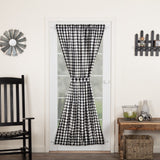 "Annie Buffalo Black Check Lined Door Panel Curtain 72"" - Primitive Star Quilt Shop"