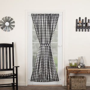Annie Buffalo Black Check Lined Door Panel Curtain 72""