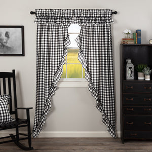 Annie Buffalo Check Black Ruffled Lined Long Prairie Curtains 84""