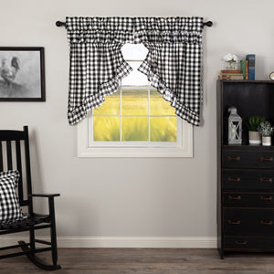 Annie Buffalo Check Black Ruffled Lined Prairie Swag Curtains