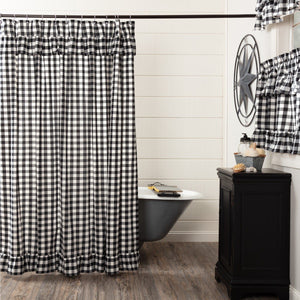 Annie Buffalo Check Black Ruffled Lined Shower Curtain