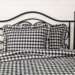 Annie Buffalo Check Black Ruffled Standard Sham 21x27""