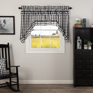 Annie Buffalo Check Black Ruffled Lined Swag Curtains