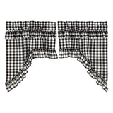 Annie Buffalo Check Black Ruffled Lined Swag Curtains - Primitive Star Quilt Shop