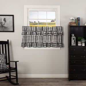 Annie Buffalo Check Black Ruffled Lined Tier Curtains 24""