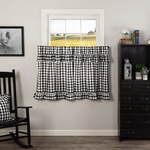 Annie Buffalo Check Black Ruffled Lined Tier Curtains 36""