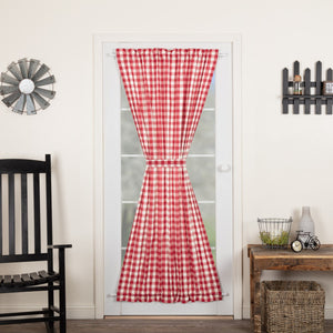 Annie Buffalo Red Check Lined Door Panel Curtain 72""