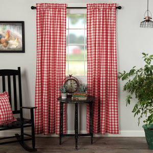 Annie Buffalo Check Red Lined Panel Curtains 84""