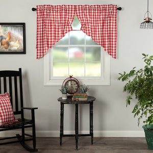 Annie Buffalo Check Red Lined Prairie Swag Curtains