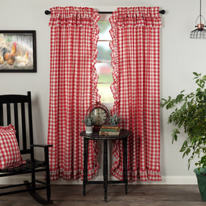 Annie Buffalo Check Red Ruffled Lined Panel Curtains 84""