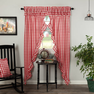 Annie Buffalo Check Red Ruffled Lined Long Prairie Curtains 84""