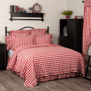 Annie Buffalo Check Red Ruffled Coverlet