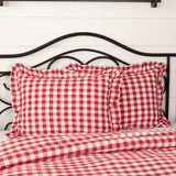 Annie Buffalo Check Red Ruffled Coverlet Bundle - Primitive Star Quilt Shop