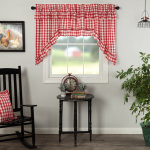Annie Buffalo Check Red Ruffled Lined Swag Curtains