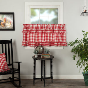 Annie Buffalo Check Red Ruffled Lined Tier Curtains 24""