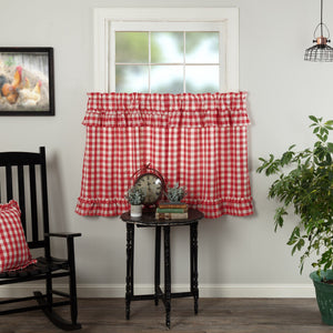 Annie Buffalo Check Red Ruffled Lined Tier Curtains 36""