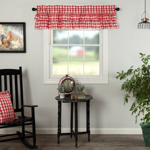 Annie Buffalo Red Check Ruffled Lined Valance 60""