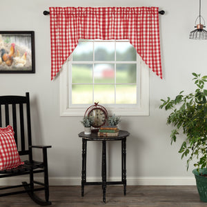 Annie Buffalo Check Red Lined Swag Curtains