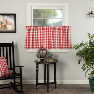Annie Buffalo Check Red Lined Tier Curtains 24""
