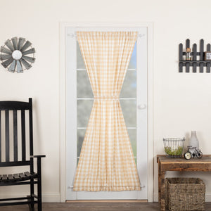 Annie Buffalo Check Tan Lined Door Panel Curtain 72""