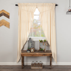 Annie Buffalo Check Tan Lined Long Prairie Curtains 84""