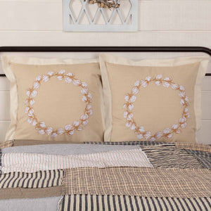 "Ashmont Cotton Wreath Euro Sham 26x26"" - Set of 2"