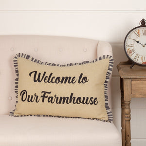 "Ashmont Burlap Vintage ""Welcome to Our Farmhouse"" Pillow 14x22"""