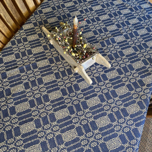 Autumn Frost Navy and Tan Woven Table Cloth 52x52""