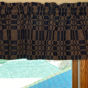 Autumn Frost Navy and Tan Woven Valance 72""