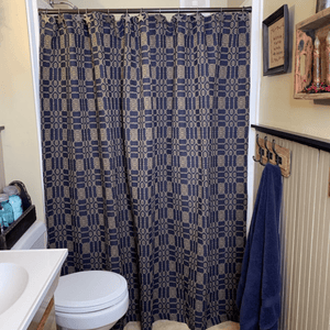 Autumn Frost Navy and Tan Woven Shower Curtain