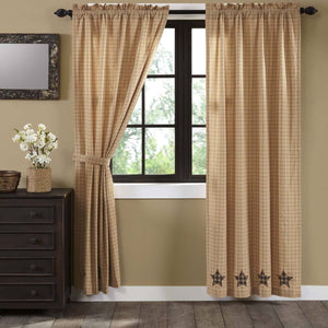 Bingham Star Applique Lined Panel Curtains 84""