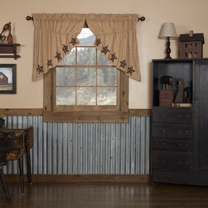 Bingham Star Applique Lined Prairie Swag Curtains