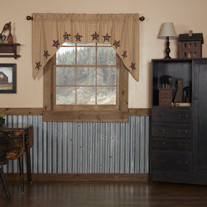 Bingham Star Applique Lined Swag Curtains