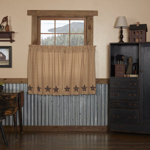 Bingham Star Applique Lined Tier Curtains 36""