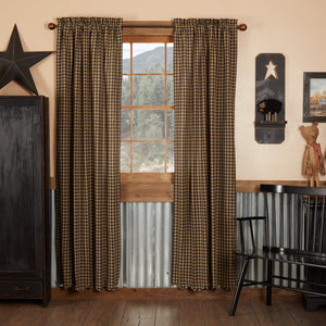Black Check Scalloped Lined Panel Curtains 84""