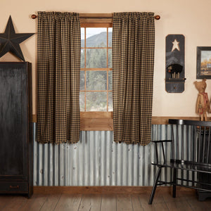 Black Check Scalloped Lined Short Panel Curtains 63""