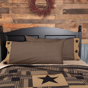 Black Check Star King Pillow Case - Set of 2