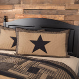 "Black Check Star Quilted King Sham 21x37"" - Primitive Star Quilt Shop"