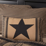 "Black Check Star Pillow 14x22"" Filled - Primitive Star Quilt Shop"