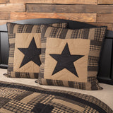 "Black Check Star Quilted Euro Sham 26x26"" - Primitive Star Quilt Shop"