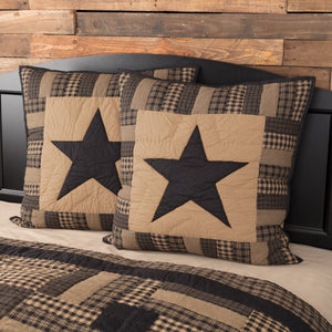 Black Check Star Quilted Euro Sham 26x26""