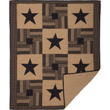 Black Check Star Quilted Throw - Primitive Star Quilt Shop