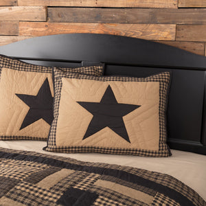 Black Check Star Quilted Standard Sham 21x27""