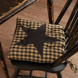 "Black Star Chair Pad 15"" - Primitive Star Quilt Shop"