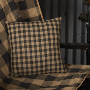 Black Check Fabric Pillow 12""