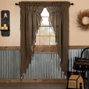 Black Check Scalloped Lined Long Prairie Curtains 84""