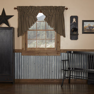 Black Check Scalloped Lined Prairie Swag Curtains