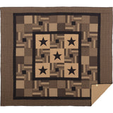 Black Check Star Quilt Bundle California King Quilt, King Bed Skirt, 2 King Shams- Primitive Star Quilt Shop