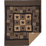 Black Check Star Quilt Bundle Twin Quilt, Twin Bed Skirt, 1 Standard Sham- Primitive Star Quilt Shop