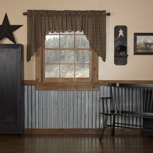 Black Check Scalloped Lined Swag Curtains
